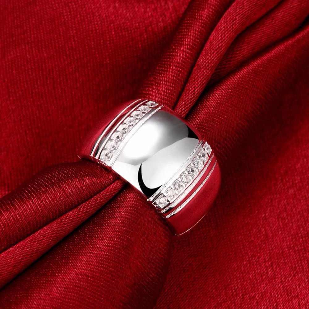 100% Bạc 925 Người Phụ Nữ Người Nhẫn CZ Pha Lê Cưới Đính Hôn Sỉ Thời Trang Ngón Tay Nhẫn Trang Sức Viễn Chí Bảo