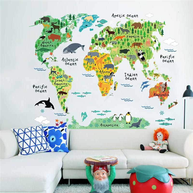 World map animals wall stickers room decorations cartoon for Cheap wall mural posters