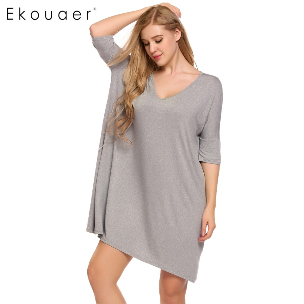 Ekouaer Women Casual Loose Nightgown Women Solid Half Sleeve V-Neck Home Clothing Plus Size Nightwear Summer Female Home Clothes