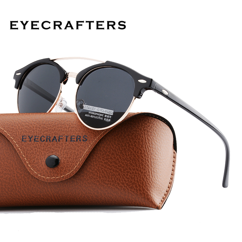 Moda Clube Dos Homens Rodada óculos de Sol Das Mulheres Designer de Marca Polarizada Polaroid Dupla Ponte óculos de Sol oculos de sol