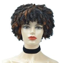 Afro Short Kinky Curly Wigs For Black Women Ombre Synthetic Wig Non-Front Lace Wig Black Mixed Brown Natural Heat Resistant Hair стоимость