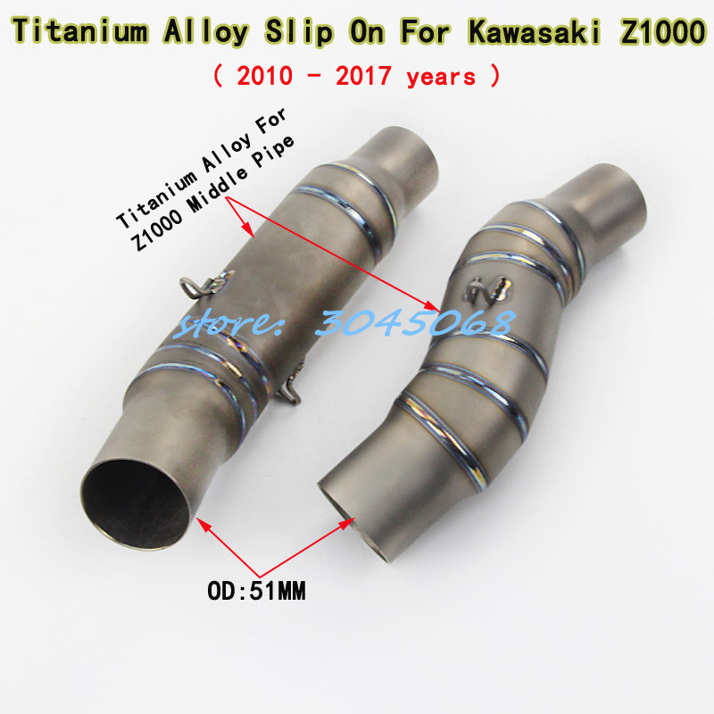 Titanium Alloy Slip On Motorcycle 51MM Exhaust Middle Link Pipe Full System Exhaust Without Muffler For Kawasaki Z1000 2010-2017