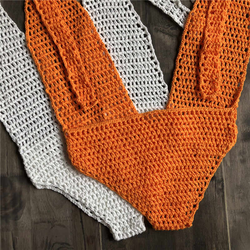 Criptografia Quente do Verão Oco Out Halter Profundo Decote Em V Bodysuit Handmade Malha Crochet Backless One piece Corpo Sexy para As Mulheres