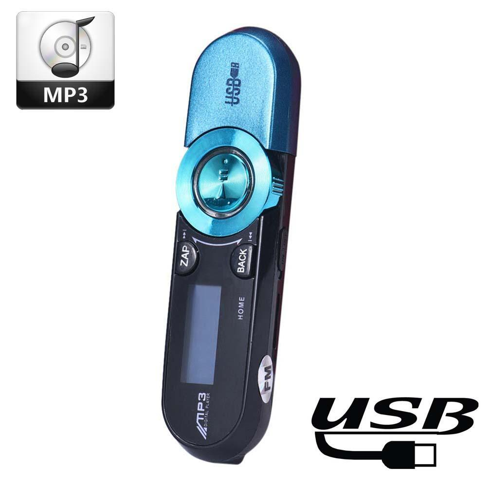 USB LCD Screen 16G Support Flash TF Player MP3 Music Play FM Radio Mini Blue