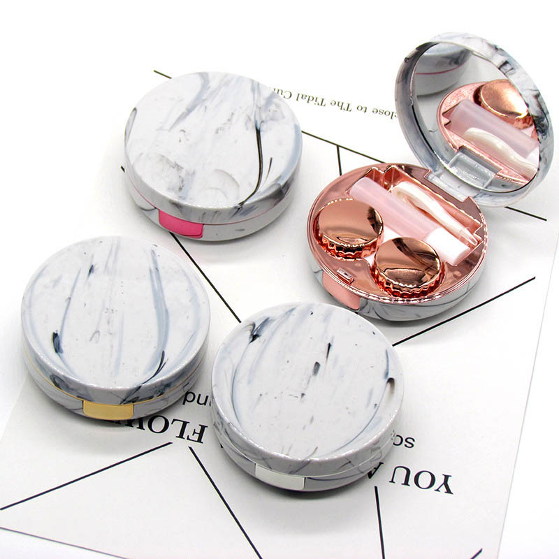 New Marble Contact Lens Container Geometry Shape Contact Lens Case Portable Travel Glasses Container Women Contact Lenses Box
