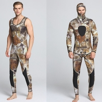 2pcs Scuba Diving Suit Set 3mm Men Long Sleeves Fishing and Hunting Surfing Suit Swimming Wetsuit Swimsuit Swimwear