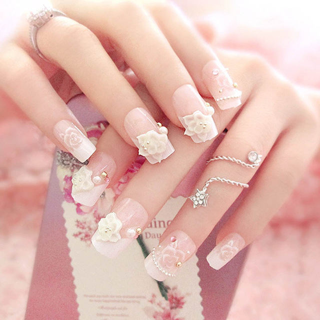 24 Pcs Set 3D Flowers Full Nails Tips Beads Wedding Bride Fake Fingernails Nail Art Decorate Tool With Glue