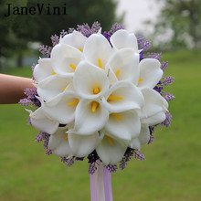 JaneVini White Calla Lily Wedding Bouquet Lavender Purple Artificial Flowers Bride Bouquets Ribbon Holder Bridal Boutonnieres