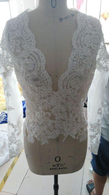 Wraps branco De Noiva 2016 Baratos Branco Decote em V Profundo mangas compridas lace Wedding Jackets