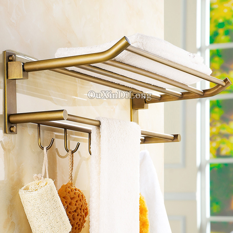 European Antique Pure Brass Bathroom Folding Activity Towel Bar Double Tiers Bath Towel Holder Rack with Hooks Wall MountedEuropean Antique Pure Brass Bathroom Folding Activity Towel Bar Double Tiers Bath Towel Holder Rack with Hooks Wall Mounted