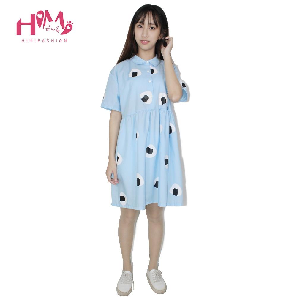 Japan Style Womens Summer Dress Harajuku Young girl Air blue Doll Collar Laver Rice Vegetable Print Princess Cotton Dresses 3