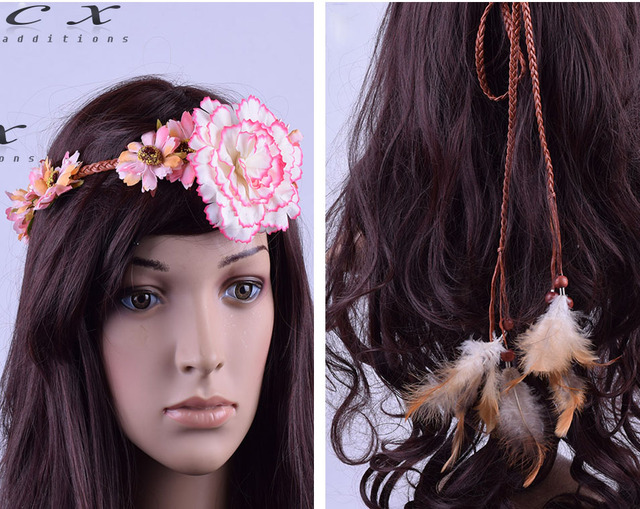 feather tassels Bridal floral crown hair wreath Indian style Straw hat  Flower simple Woodland Hairpiece Natural Wedding Rustic f04518e76