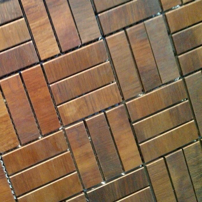 15x48mm bronze brass backsplash metal mosaic tile hallway metal ...