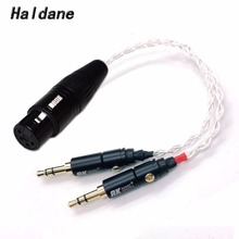 цена на Free Shipping Haldane 10cm Silver plated 2x 3.5mm Male to 4-pin XLR Female Balanced Audio Adapter Cable for PHA-3 Pono Player