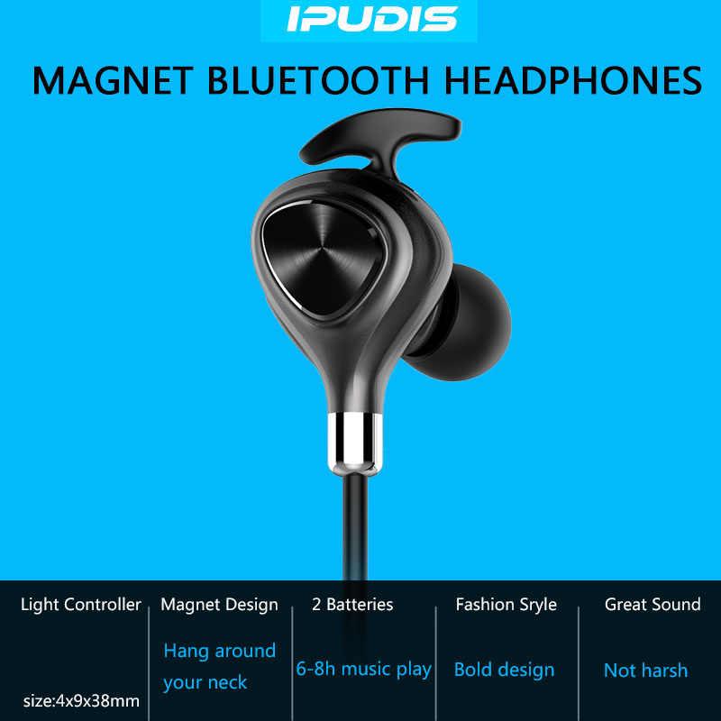 IPUDIS спортивный магнит Bluetooth наушники IPX7 водонепроницаемые магнитные беспроводные наушники-вкладыши стерео наушники с микрофоном