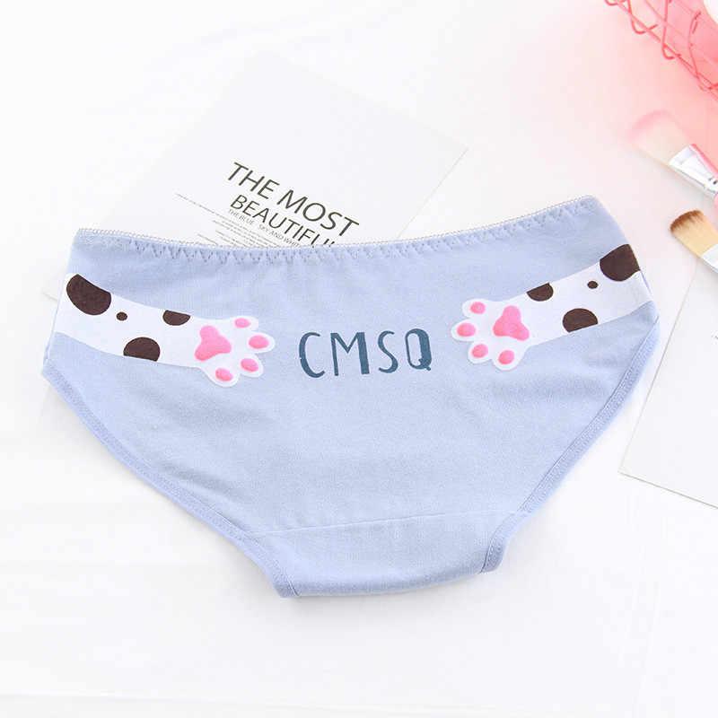 b88d3a60c27b ... HUI GUAN Kawaii Cat's Paw Women Underwear Panties Candy Color Girls  Panties Cute Cozy Breathable Soft