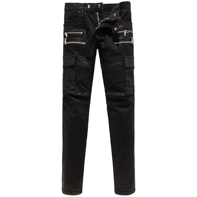 Italie Célèbre marque De Mode Jeans Hommes Brillant Noir Denim Jean Poches  Mince Pantalon Hommes Casual e59910bbd668