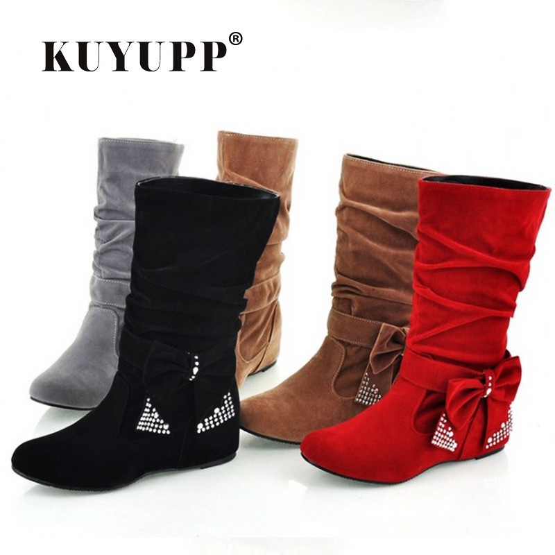 high suede boots butterfly winter shoes mid calf s