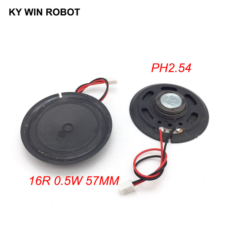 2pcs/lot New Ultra-thin Toy-car Horn 16 Ohms 0.5 Watt 0.5W 16R Speaker Diameter 57MM 5.7CM With PH2.54 Terminal Wire Length 10CM