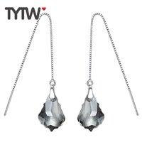 TYTW 925 Orecchino D'argento Cristalli da Swarovski Donne Della Corea Orecchini Lunghi Rhainstone nappa Orecchio anello per le donne Regalo