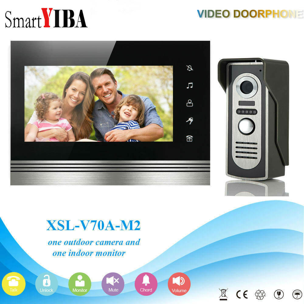 SmartYIBA 7 Inch Home Intercom Touch Screen Wired Video Entryphone Night Vision Camera IR-Cut Rainproof Video Doorbell Doorphone