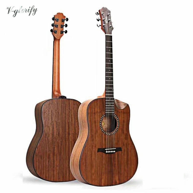 2018 new arrival 41inch acoustic electric guitar with walnut top, half-cutway design guitar performance cutway classic guitar with hard case