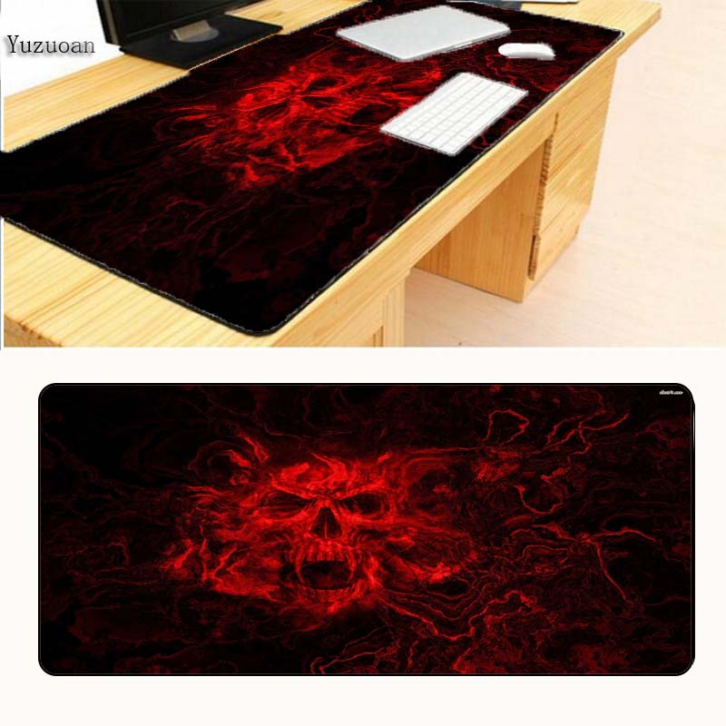 Yuzuoan Бесплатная доставка Красный Череп 900x400x3 игровой большой коврик для игровой мыши коврик для Мыши pad игры компьютерный стол padmouse ноутбук ...