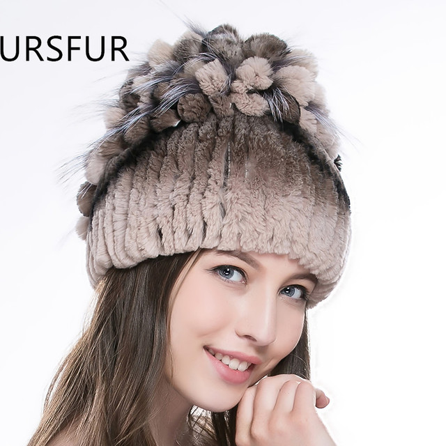 URSFUR Winter Fur Hats for Women Real Rex Rabbit Fur Hat with Fox Fur Flower Top Multicolor Knitted Beanies Female Fur Caps