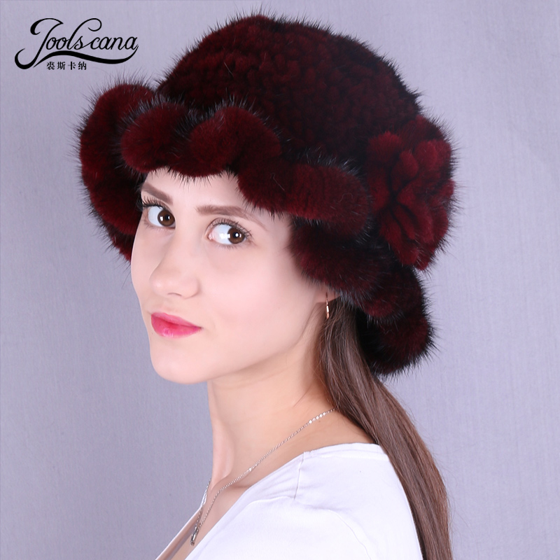 Joolscana real mink fur hat women winter hat knitted cap new brand Skullies with brim top hat warm natural mink skullies hat beret knitted hat women winter gorgeous 2294