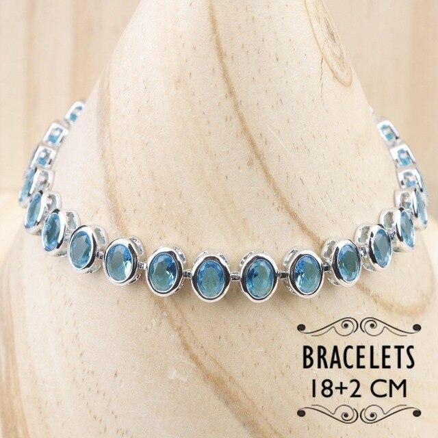 Blue Zircon Silver 925 Wedding Jewelry Sets  2