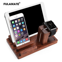 FULAIKATE Bamboo Wood Holder for iPhone6s Plus Bracket Desk Stand for Apple Watch Tablet PC Samrt Phone Rosewood Docking Station