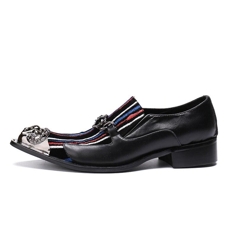 Trabajo Carrera Patchwork Punta Hombres De Diseñador Genuino Moda Cuero Estrecha Casual Zapatos Lujo Mocasines Metal Black Marca 1SZw6wqT
