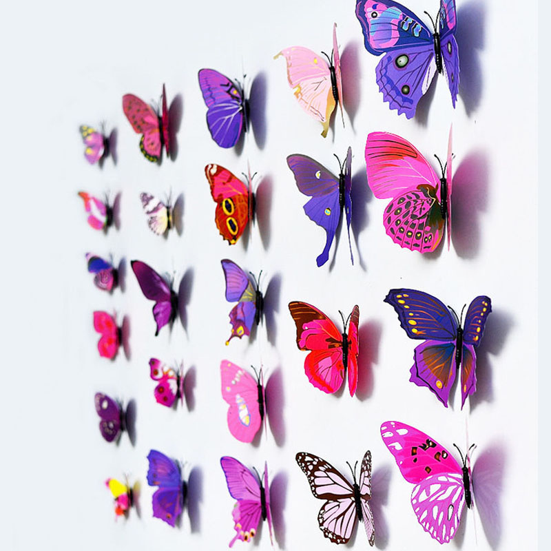 12pcs 3D Butterfly Design Decal Art Wall Stickers Room Magnetic Home Decor CE