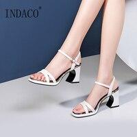Women Shoes Summer 2019 Block Heels Ladies Shoes White High Heels Sandals Sapato Feminino
