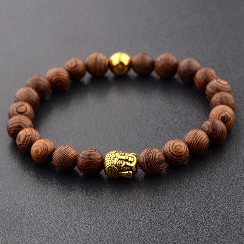 Amader 8mm Buddha Wood Beads Women Gold Strand Bracelets Charm Meditation Silver Charm Lucky Bracelet Men ABJ007
