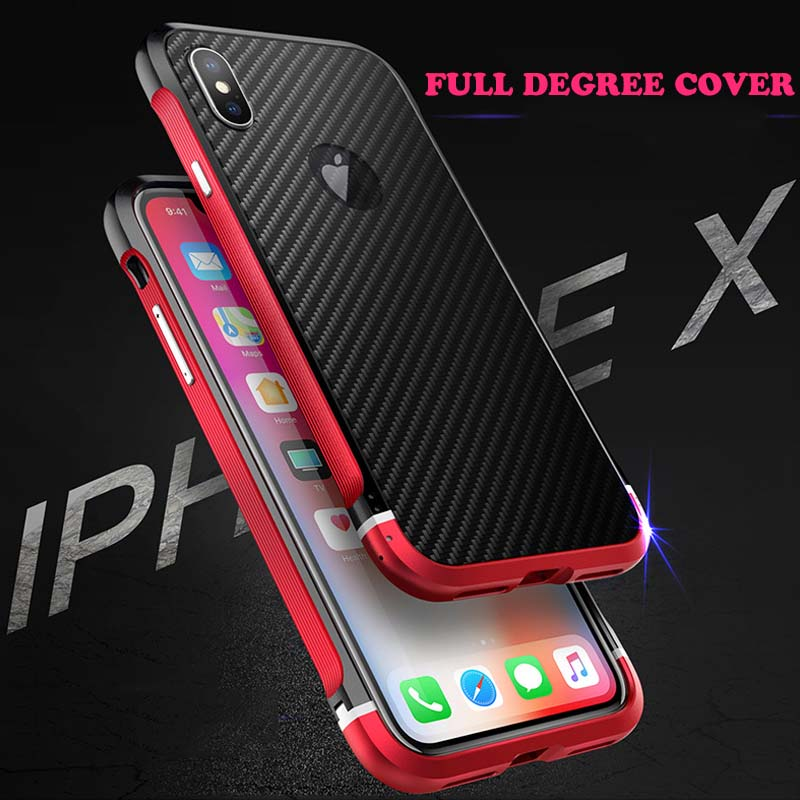 Phone Bumper Cellphones & Telecommunications Luxury Full Degree Cover For Iphone X Metal Bumper Carbon Fiber Pc Back Cover For Iphone X Shockproof Case With Lanyard