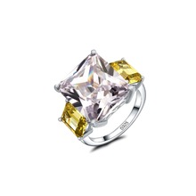 Fashion Jewelry Solid Silver Luxury 925 Big White 5A CZ Simulated stones Wedding Women Band Crown Ring gift Fine