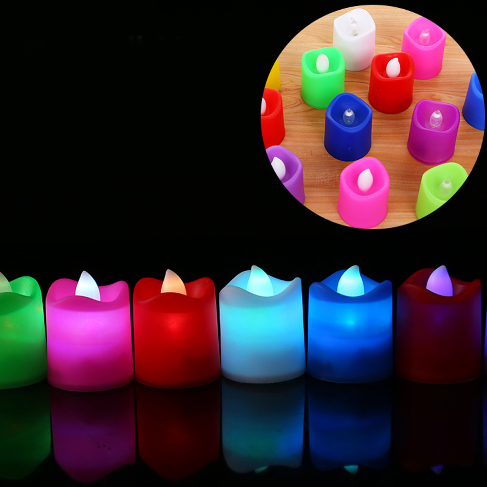10pcs/Lot LED Votive Tea Lights Candles Light Lamp Battery Operated Flickering Bulb Colorful Flameless Candles Holiday Decor P10