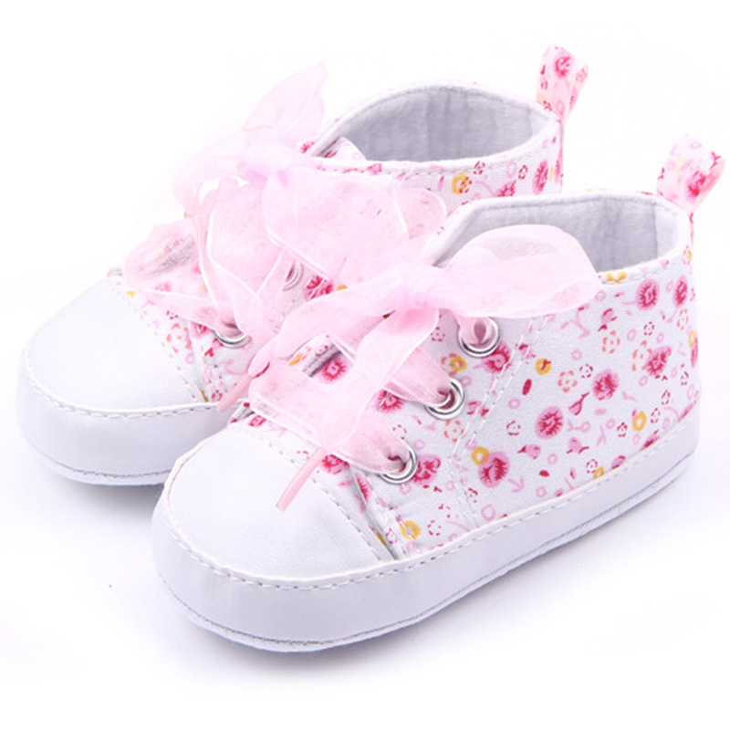 Baby Shoes Flower Ribbon Girl Sneaker Lace Up Floral Prewalkers Infant First Walkers