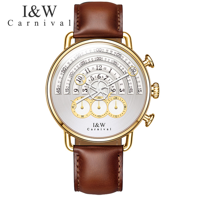 Carnival IW watch male students Korean version of simple sports waterproof belt, men's Retro personality, leather simple ultra thin watch male student korean version of the simple fashion trend fashion watch waterproof leather watch men s watch quar