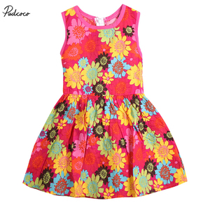 Summer Toddler Kids Girl Princess Sleeveless Floral Lace Pierced Party Dress RED(China)