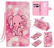 Красочный Узор розовый слон слот для карты бумажник PU Кожа Стенд Флип Новый чехол для LG Nexus 5X случае