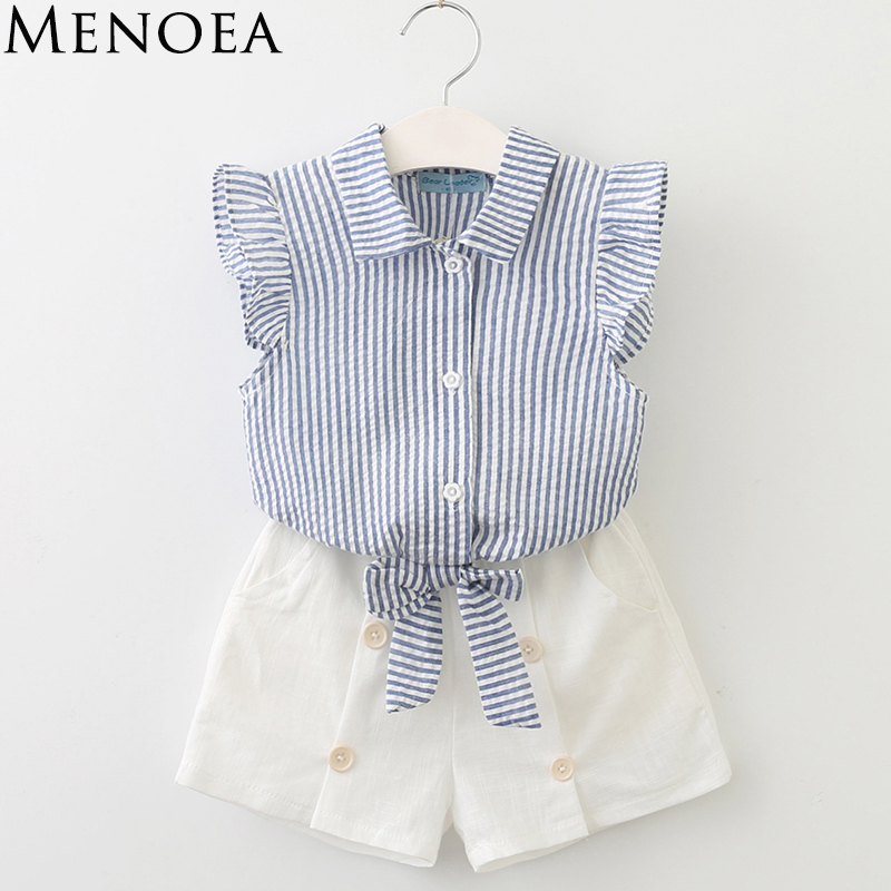 Kids Sets 2017 Brand Fashion Style Summer Girl Clothing Sets Kids Clothing Sets Sleeveless White T-shirt +pant Girl Suit new fashion suspender with sleeveless shirt suit for girl