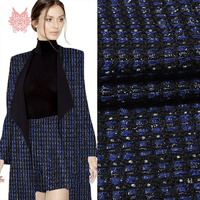 Designer Metallic Decor Black Blue Weaving Wool Fabric Woolen Cloth For Winter Coat Dress Suit Cloth