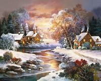 Landscape Tree Winter Snow Villa Rhinestone Diy Mosaic Round 5d Diamond Painting Full Complete Embroidery Cross