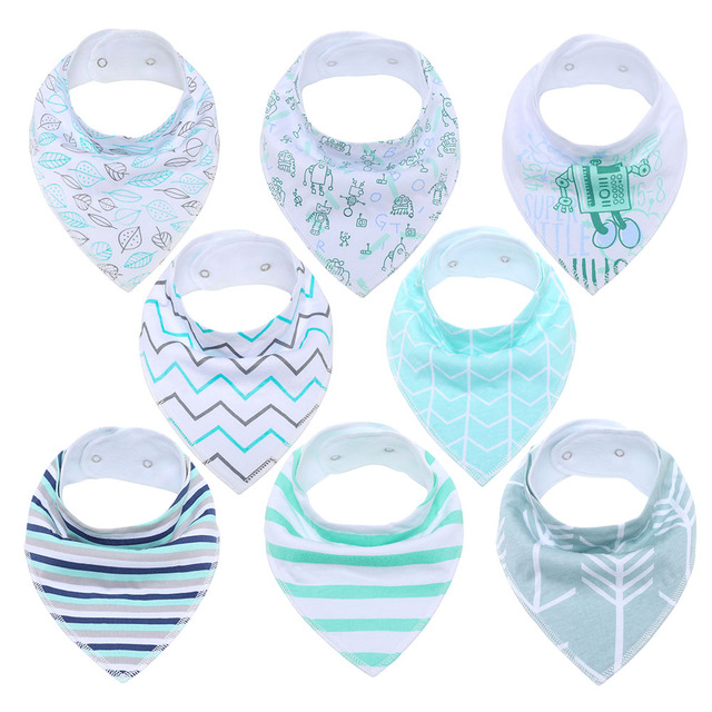 Unisex 8-Pack Gift Set Baby Bandana Drool Bibs for Drooling and Teething Organic Cotton Soft and Absorbent Hypoallergenic Bibs Accessories Infant (3-12 months) Regular Bibs & Bandanas Shop by Age Toddler (1-3 years)