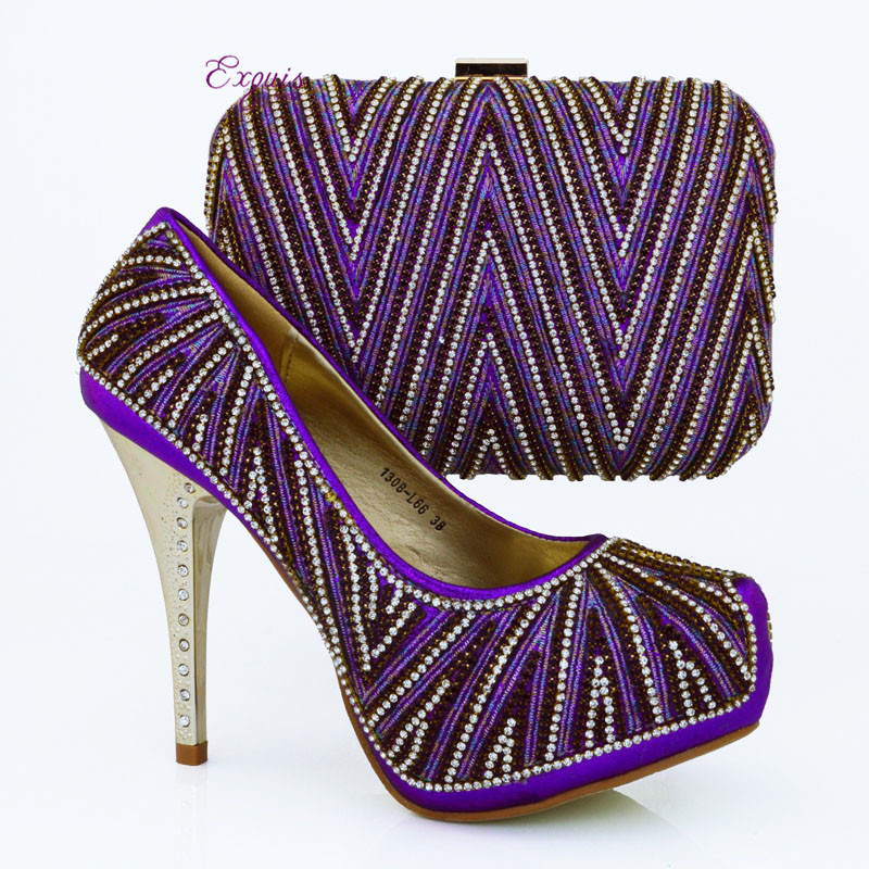 ФОТО 2016 NEW ARRIVAL  !!! Hot sale Lady italian design hight heel shoes with matching bags in purple. free shipping!!  1308-L66