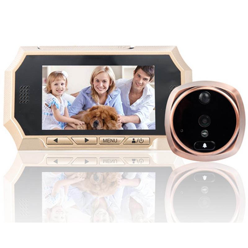 4.3 LCD Smart Door Peephole Viewer Auto Photos/Audio Video Record HD IR Night Vision Camera Doorbell Peephole camera door bell wireless door viewer 4 3inch hd touch screen auto voice reminder smart door peephole camera infrared night version f1426d