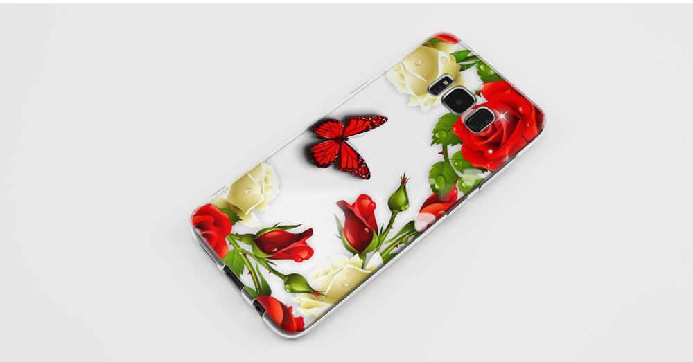 Kmuysl الأحمر فراشة على الأبيض الورود زهرة tpu واضح لينة سيليكون حالة غطاء لسامسونج غالاكسي s9 s8 زائد s7 s6 حافة s5 مصغرة ق