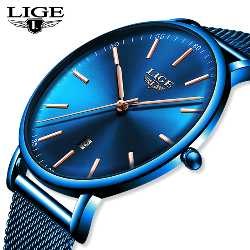 LIGE Mens Watches Top Brand Luxury Waterproof Ultra Thin Clock Blue Mesh Belt Fashon Casual Quartz Watch Men Sport Wrist Watch